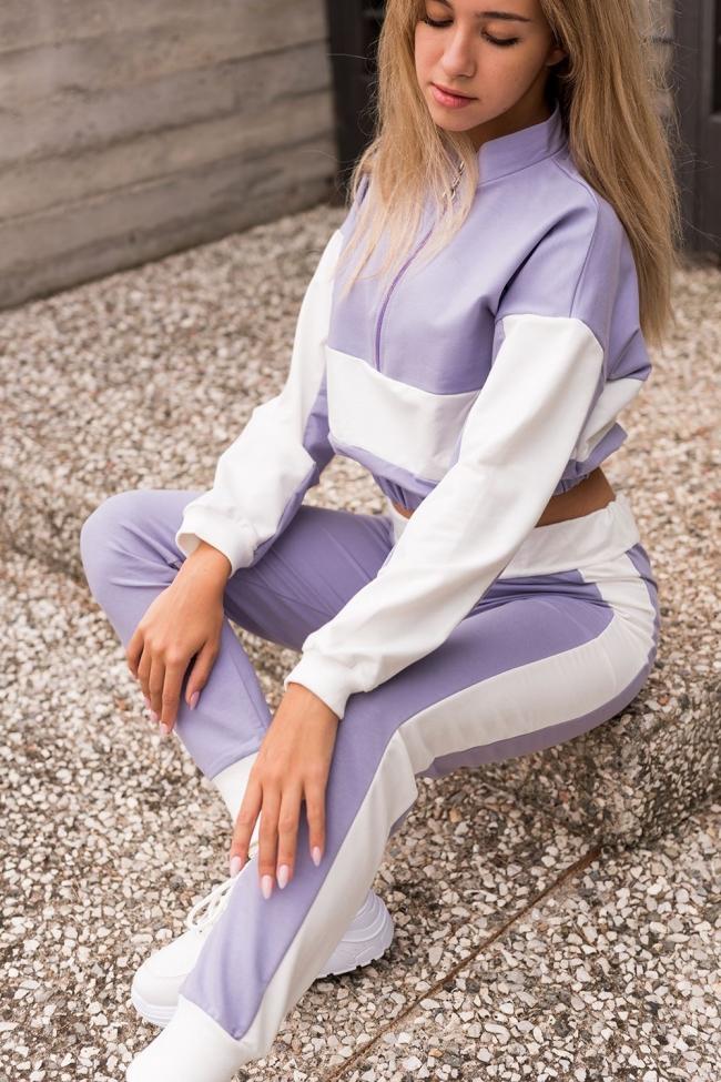 Μπλούζα Φούτερ Crop Top με Φερμουάρ